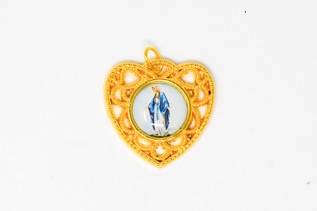 Colourful Gold Our Lady of Grace Heart Medal.