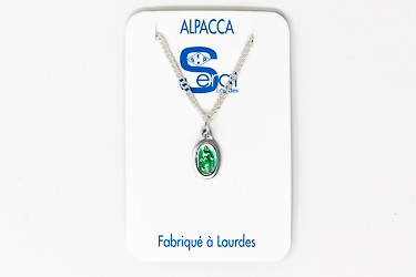 Green Miraculous Medal Necklace.