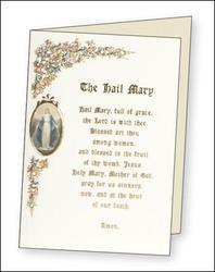 Card with The Hail Mary Prayer.