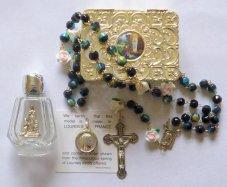 Virgin Mary Water Pendant & Rose Rosary Gift Set.