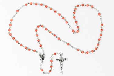 925 Coral Rosary Beads with Crucifix.