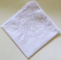 Lourdes Embroidered Handkerchief.