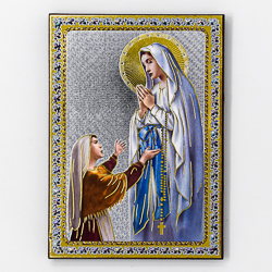 Lourdes Gold Foil Wall Plaque.