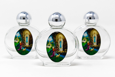 3 Color Glass Holy Water Bottles with Lourdes Water