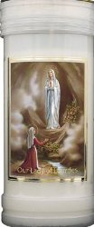 Lourdes Apparition  Pillar Candle.