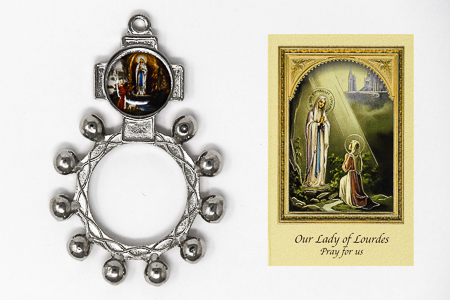 Rosary Ring and Lourdes Leaflet.