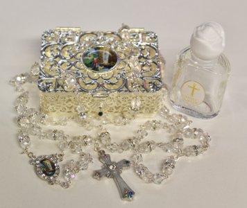 Lourdes Water Pendant & Rosary Gift Set.