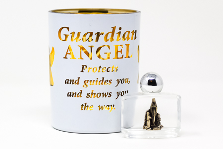 Guardian Angel Glass Votive Light Holder.