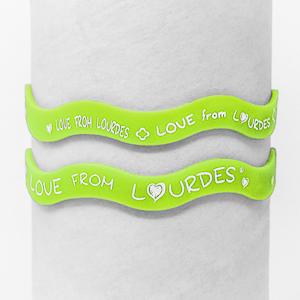 Green Lourdes Rubber Bracelet.