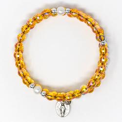 Memory Wire Rosary Bracelet Orange