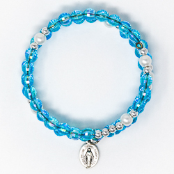 Memory Wire Rosary Bracelet Turquoise.