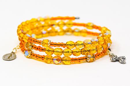 Memory Wire Rosary Bracelet Yellow.