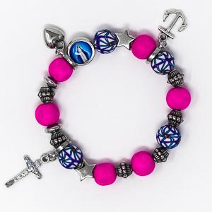 Heart Cross Anchor Rosary Bracelet.