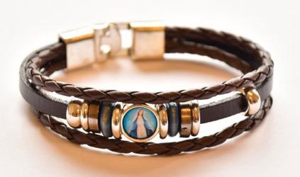 Miraculous Medal Leather Bracelet.