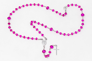 Miraculous Pink Crystal Rosary for a Child.