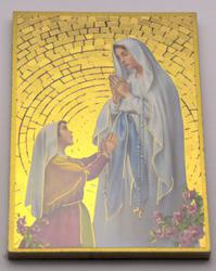 Lourdes Apparition Mosaic Wall Plaque..