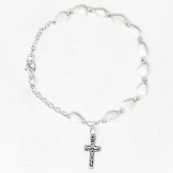 Mother of Pearl Cross Rosary Bracelet.