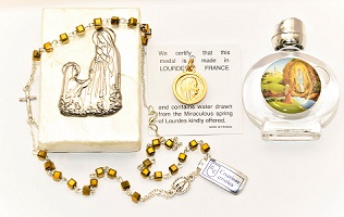 Mother of Pearl Lourdes Water Gift Set.