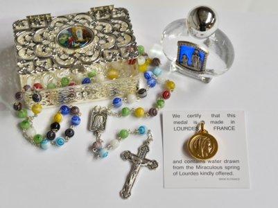 Munrano Rosary & Lourdes Water Gift Set.