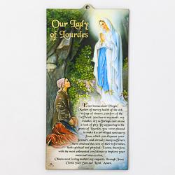Our Lady of Lourdes Wood Plaque.