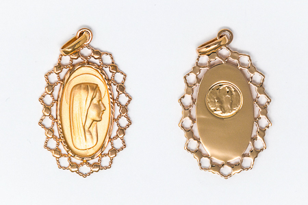 Gold Virgin Mary Pendant.