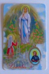Lourdes Prayer Card with a Bernadette Medal.