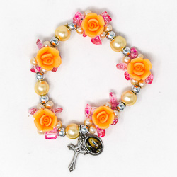 Elastic Peach Rose Rosary Bracelet.