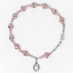 Pink Miraculous Crystal Rosary Bracelet.