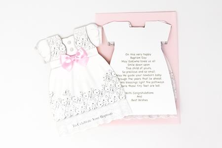 Pink Baptism Card.