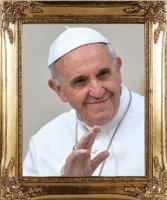Pope Francis Wood Framed Picture.