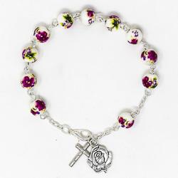 Porcelain Lourdes Rosary Bracelet.