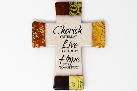 Porcelain Cross Cherish, Live, & Hope.