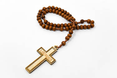 Wooden Rosary Beads on Cord.