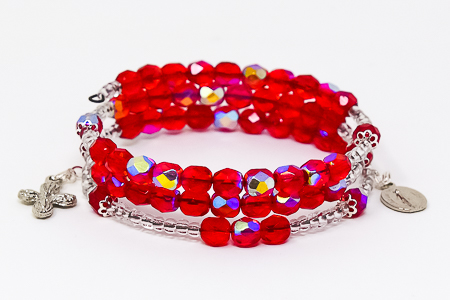 Memory Wire Rosary Bracelet Red.