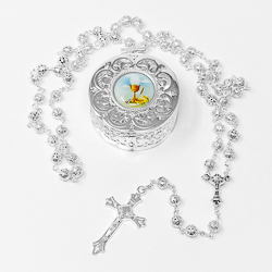 Communion Rosary & Rosary Box