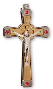 Crucifix With Ruby Swarovski Crystals.