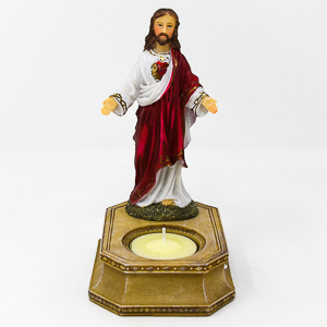 Sacred Heart of Jesus Statue and Candleholder.