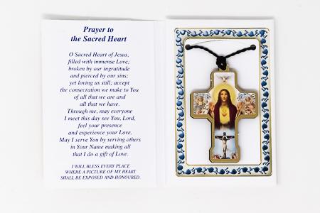 Sacred Heart of Jesus Keepsake Necklace & Prayer.