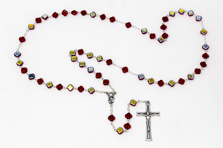 Red Glass Cross Rosary Beads.