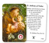 Saint Anthony Prayer Card with Relic.