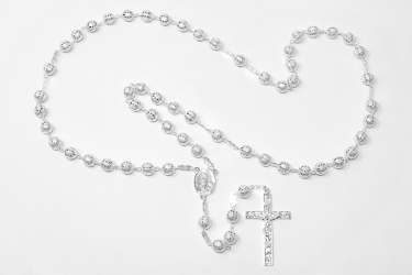 Silver Lourdes Rosary Beads.