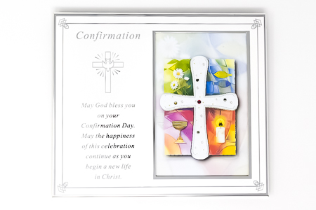 Silver Plated Confirmation Metal Photo Frame.