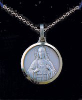 Silver Sacred Heart of Jesus Necklace.