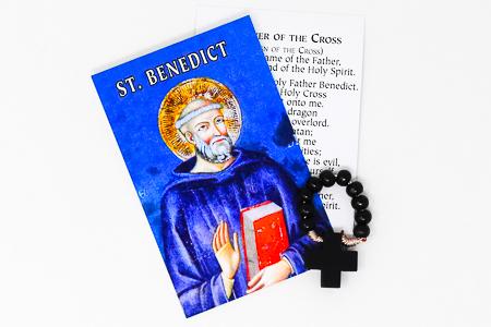 St Benedict Prayer Card & Rosary Ring.