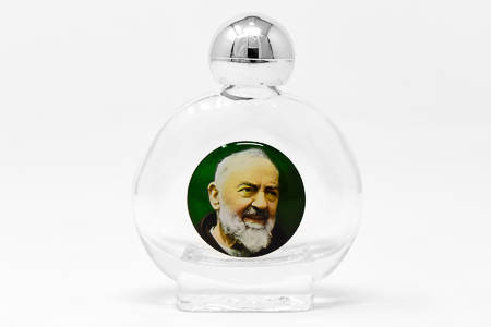 Saint Pio Glass Holy Water Bottle.