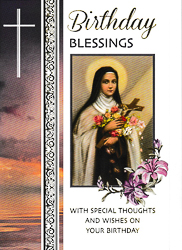 St Therese Birthday Card.