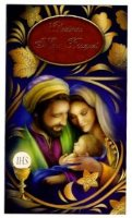 Christmas Mass Bouquet Card - Mary Joseph & Jesus.
