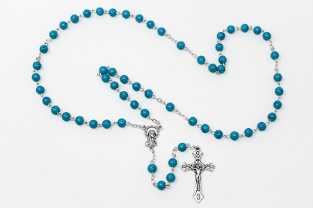Turquoise Italian Virgin Mary Rosary.