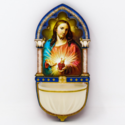 Luminous Sacred Heart of Jesus Holy Water Font.