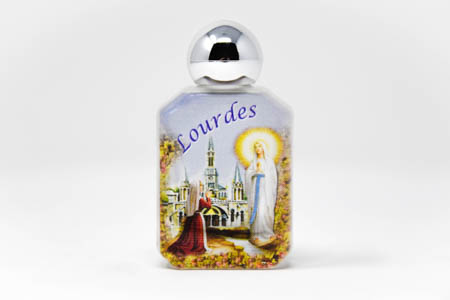 Silver Top Color Bottle of Lourdes Holy Water